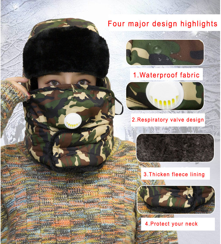 Masks Adults Winter Keep Warm Hat Bionic Thermal Camouflage Cap Ear Protect With The Respiration Valve For Hunting Outdoor Sport