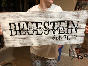 Family Wood Established sign Last Name custom personalized