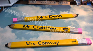 Personalized Custom Teacher #2 YELLOW Pencil Gift sign On desk wall or shelf