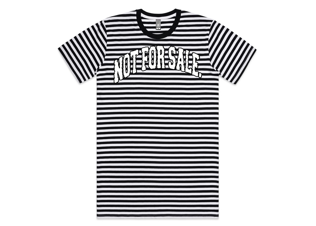 Not For Sale Stripe Tee (Black Scribble/White)
