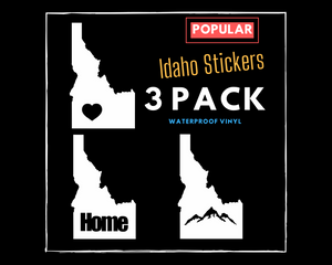 Idaho Sticker 3 Pack (Heart Idaho Sticker, Home Idaho Sticker, Mountain Idaho Sticker)