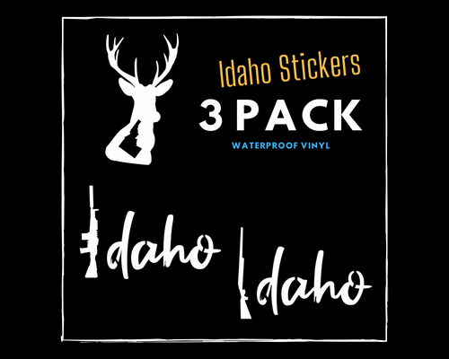 Idaho Sticker 3 Pack (Deer Idaho Sticker, Gun Idaho Sticker, Shotgun Idaho Sticker)