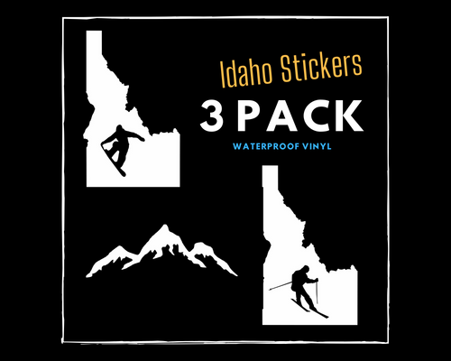 Idaho Sticker 3 Pack (Snowboard Idaho Sticker, Mountain Sticker, Ski Idaho Sticker)