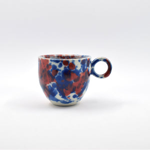 Blue and Red Splatter Espresso Cup