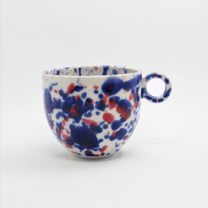 Blue and Red Splatter Mug