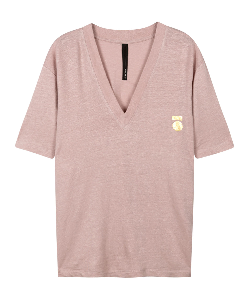 10 Days Low V-Neck Tee Linen