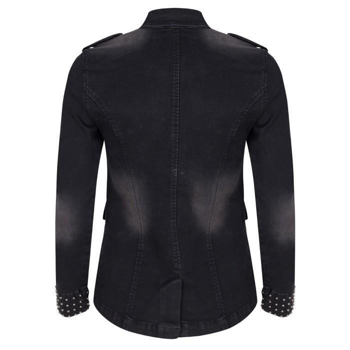Esqualo Long Black Denim Jacke