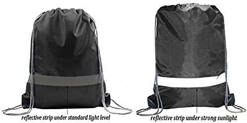 BeeGreen Reflective Drawstring Backpack Bags 30 Pack/black