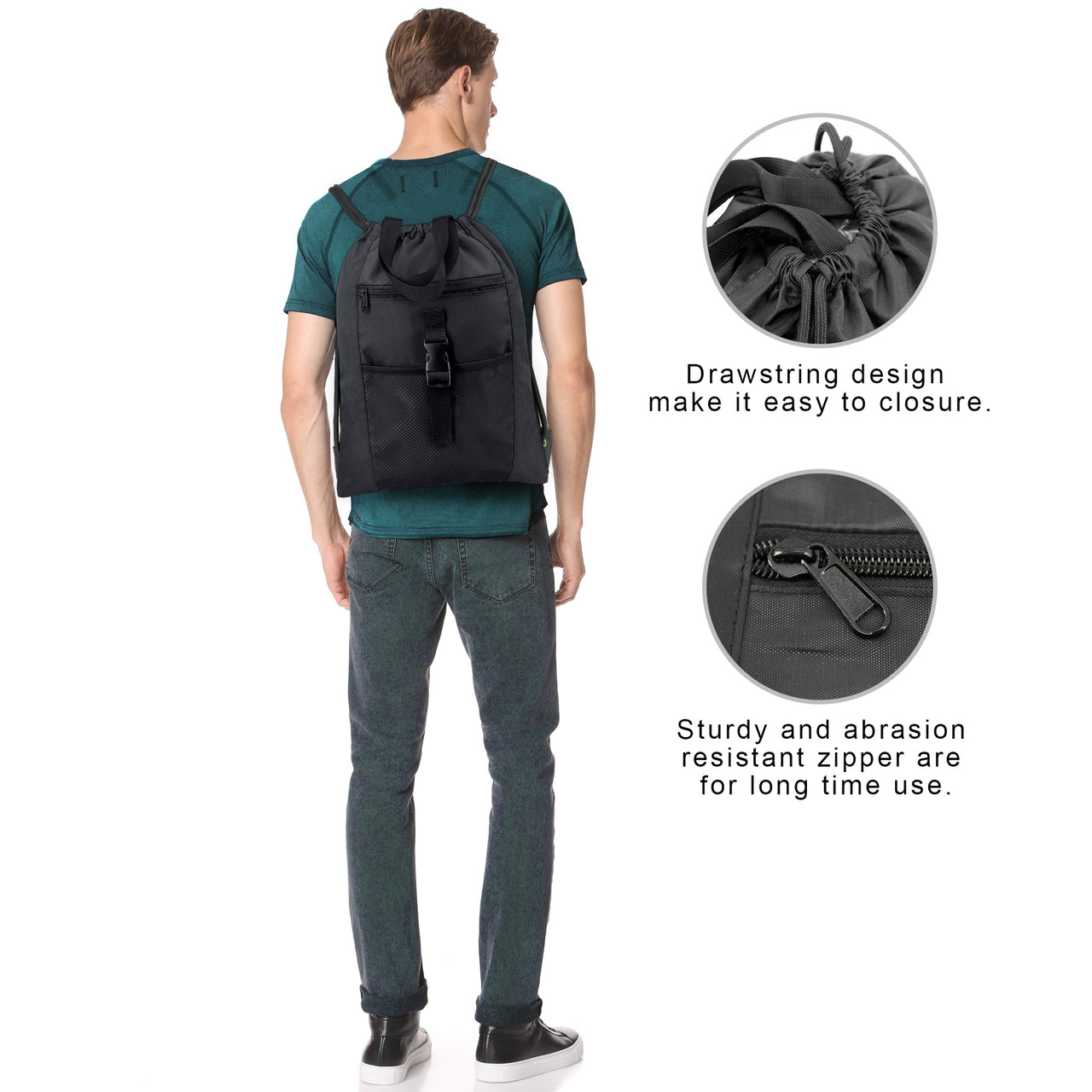 BeeGreen Drawstring Backpack Bag Gym Sports String Bags