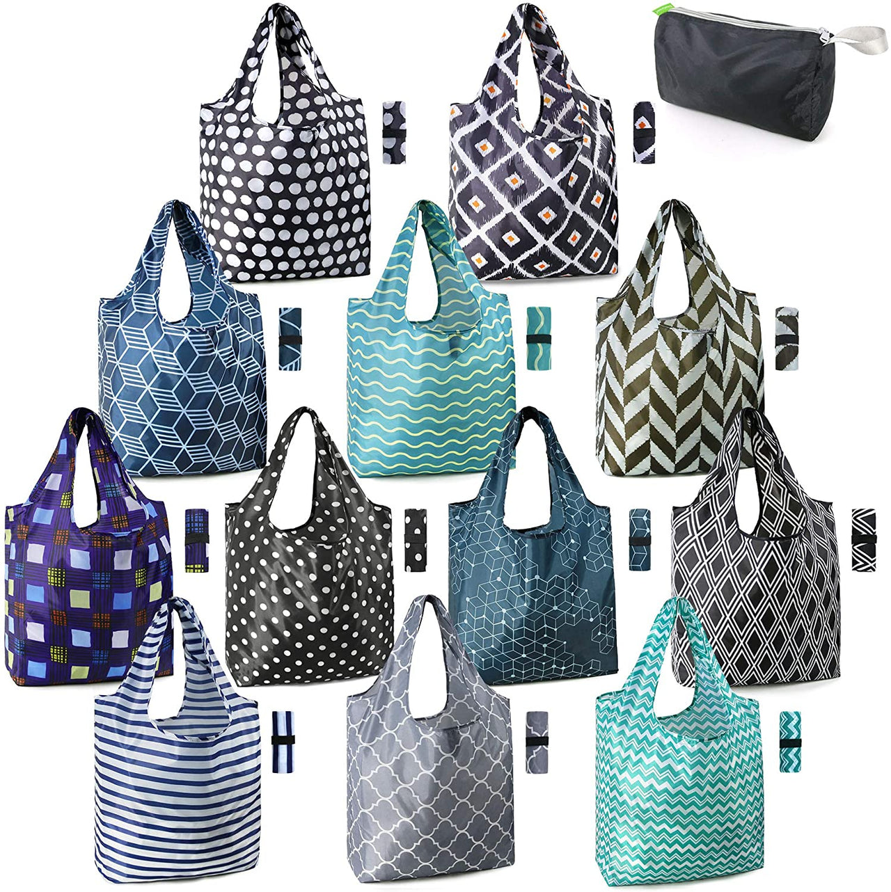 BeeGreen 12 pack Reusable Shopping Bags/geometry