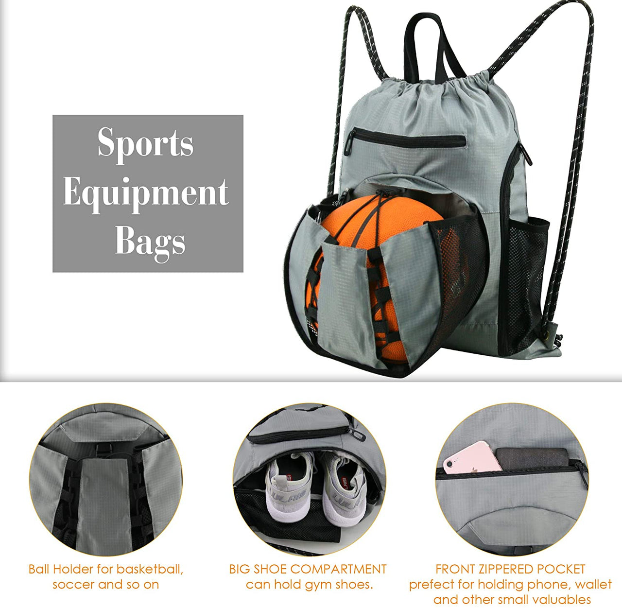 BeeGreen Basketball Drawstring Sports Backpack 1 Pack