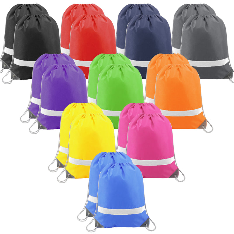 BeeGreen 20 Pack Drawstring Backpack Bags/Colorful