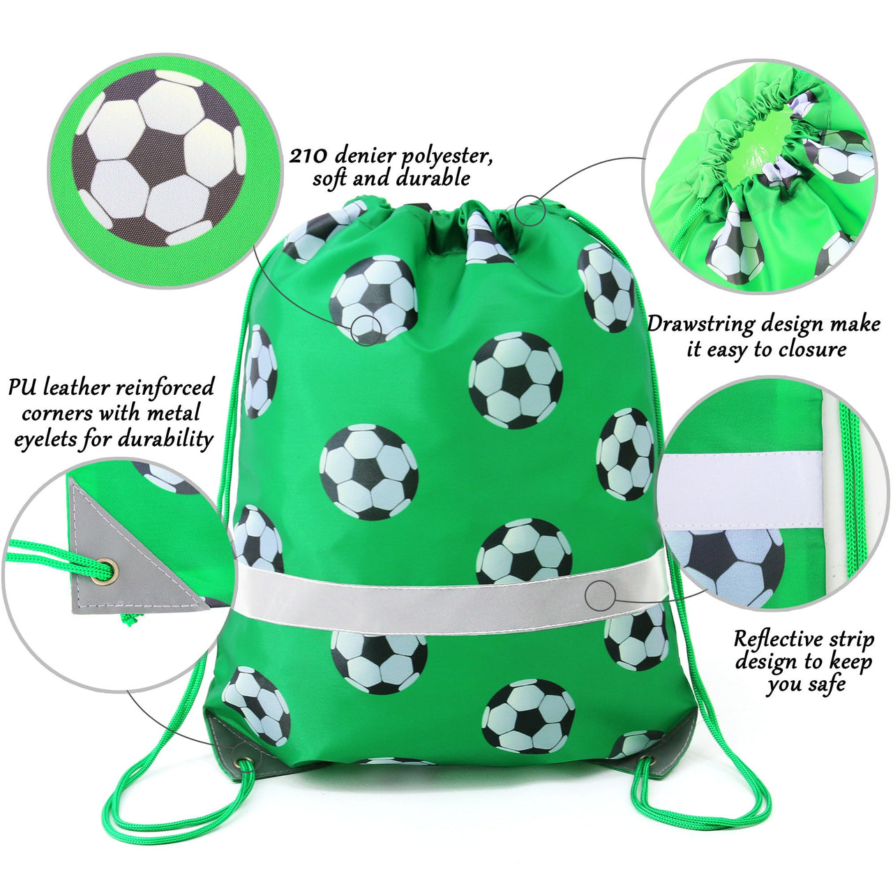 BeeGreen 10 Pack Reflective Drawstring Backpack Bags/football