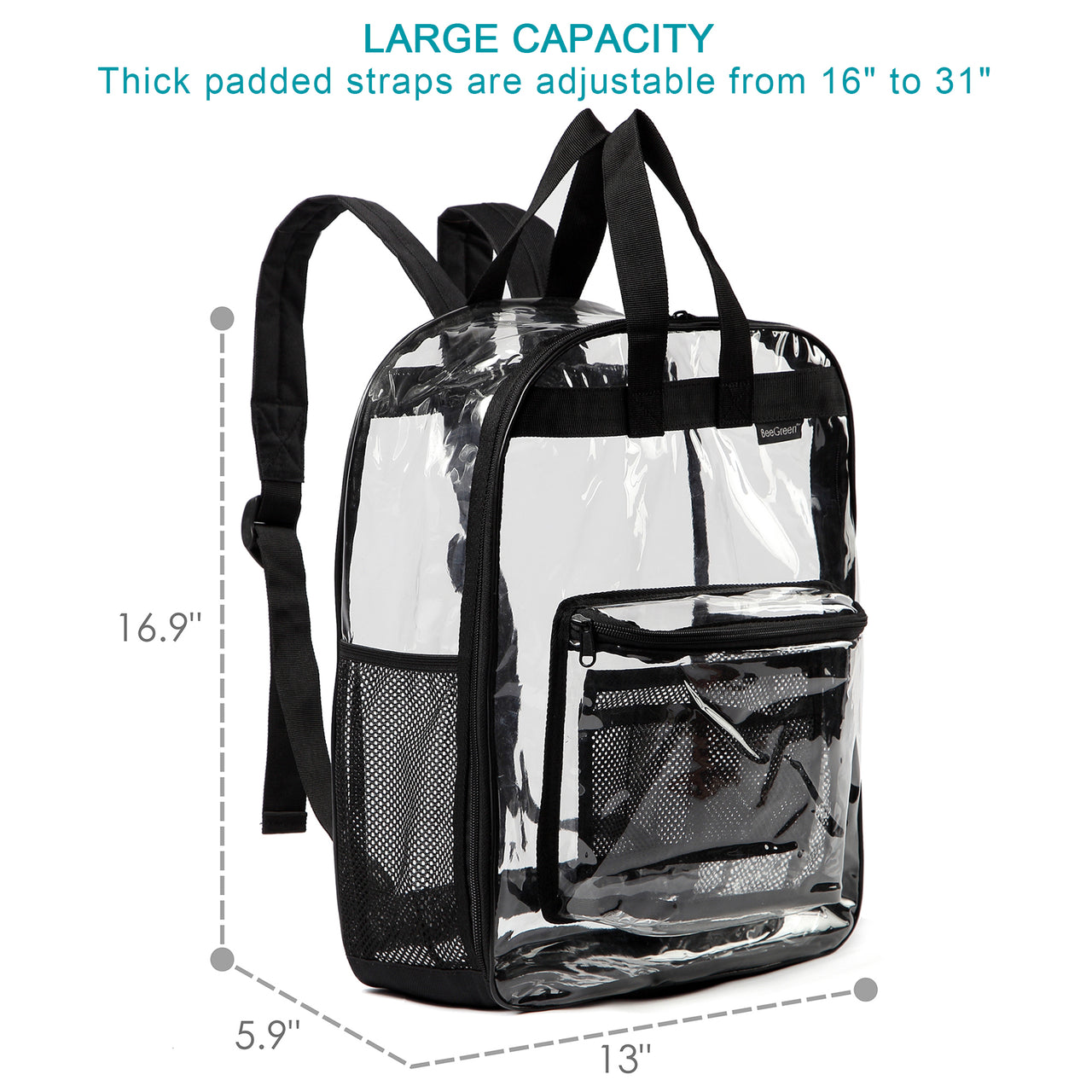 Clear Backpack See Through Transparent Backpack w Front Zippered Pocket & 2 Mesh Side pocket Large Size School Bag Heavy Duty For College Work Security Travel & Sports