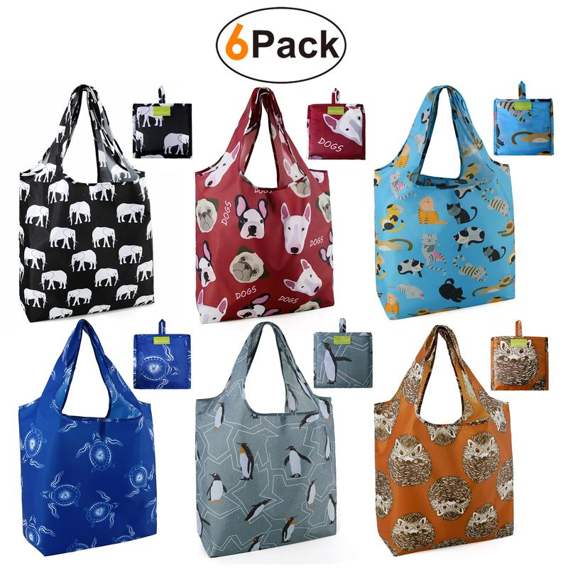 BeeGreen 6 Pack Grocery bags Reusable/6 animals