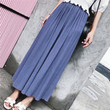 Pleated wide-leg chiffon pants