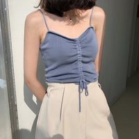 Shirred string camisole