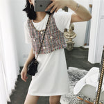 Knit vest+long T-shirt one piece dress