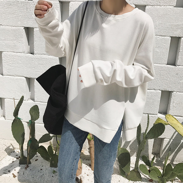 Slit cotton-fleece hooded top