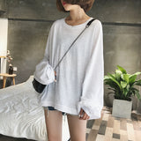 Oversized cotton-blended hooded top