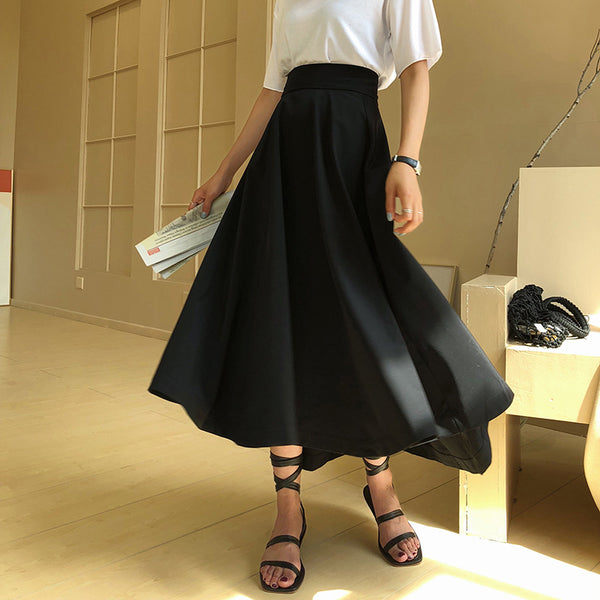 Smocked cotton-blend midi skirt