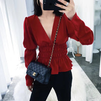 'Deep V-neck' red top