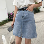 Split blue denim skirt
