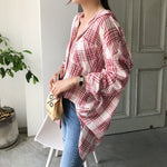 Vintage oversize plaid blouse