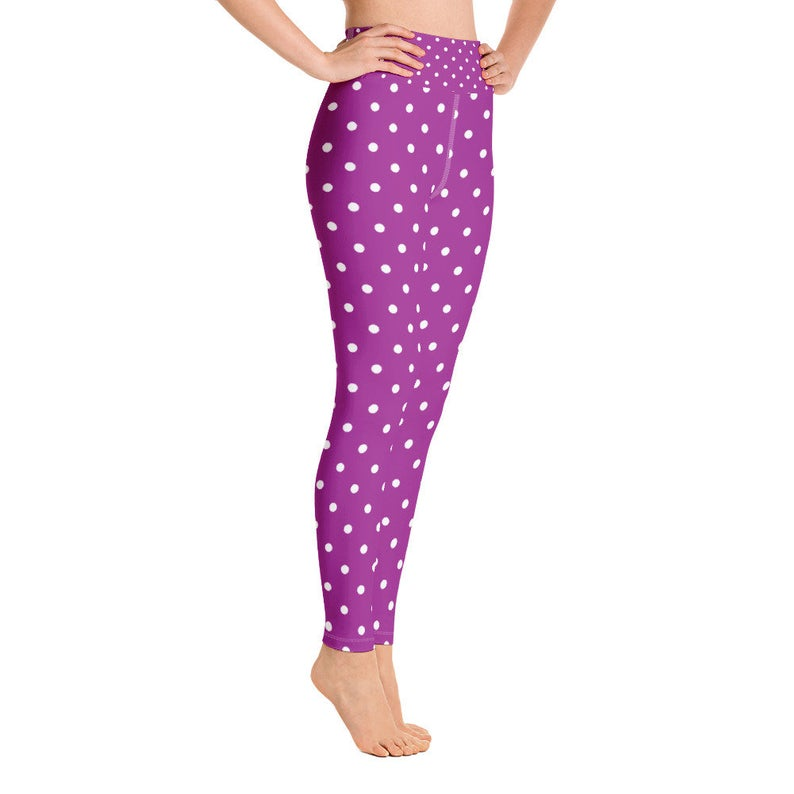 Polka dots yoga pants, Purple And White Yoga Leggings, Workout Pants For Women,  Exercise Leggings, Fitness Leggings, Sexy Leggings
