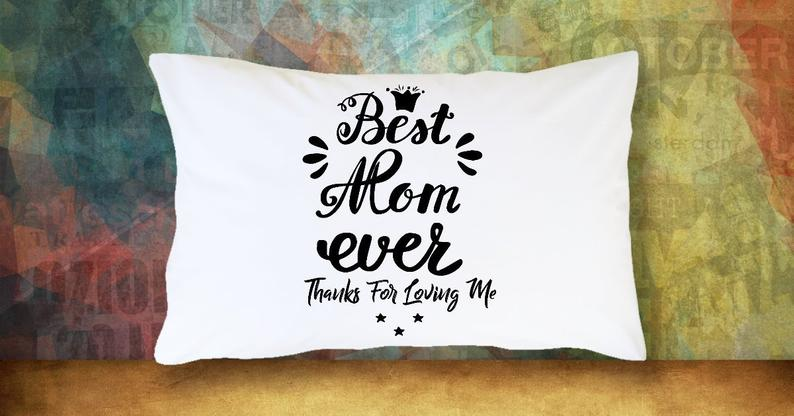 Best Mom Ever Mom White Cushion Pillow Case Gift for Mum Mother, Mommy, Mom, Mama Mother's Day Grandmother Rectangle Cute Pillow Cover