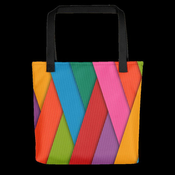 Multicolor Tote Bag, Abstract Rainbow Colors Colorful Colored Women Women's Beach Bag, Summer Book Bag Awesome Cool Cute Gift