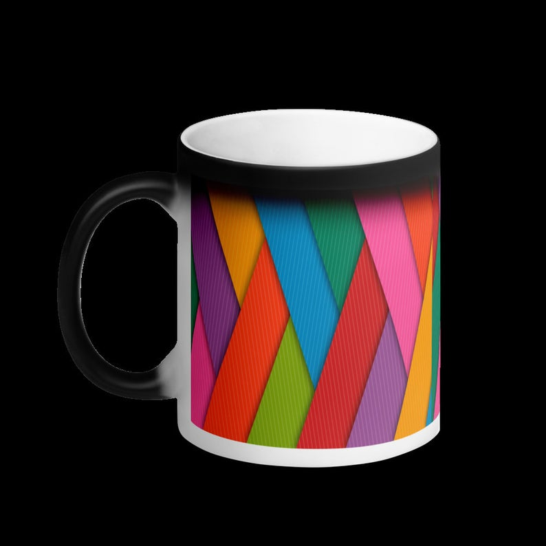 Color Changing Mug, Multicolored Rainbow Color Magic Mug, Matte Black Heat Sensitive Awesome Cool Cute Gift Coffee Cup, Tea Mug