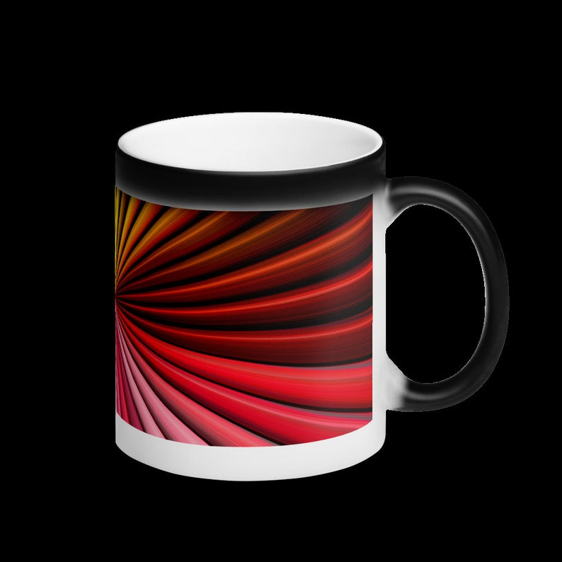 Multicolor Matte Black Magic Mug, Color Changing Coffee Mug, Heat Sensitive Color Changing Mug