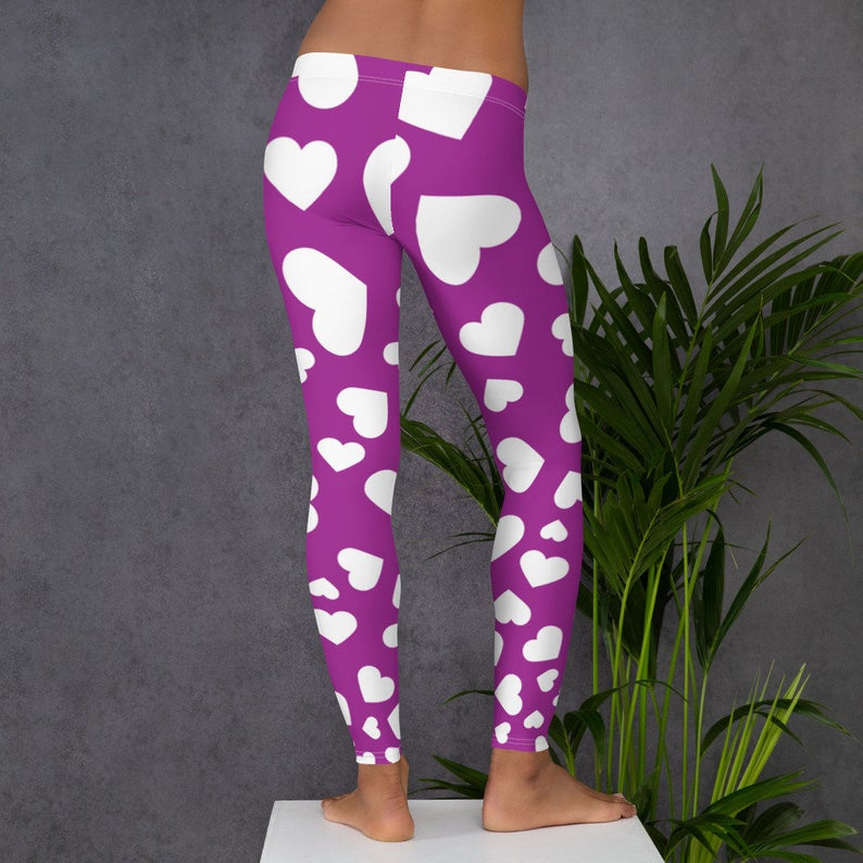 Purple with White Heart All-Over Print Leggings, Yoga Pants, Purple and white tights,Comfortable Workout Clothing