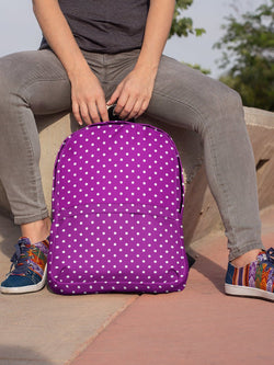 Purple Purple Royal Purple Deep Purple Colorful Purple Polka Dot Unisex Backpack, Water Resistant Laptop Backpack, Back to School Bag