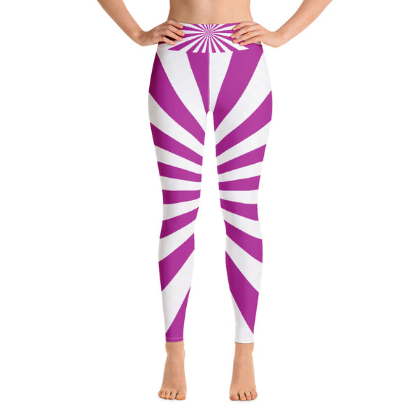 Purple And White Yoga Pants, Workout, Sports Leggings