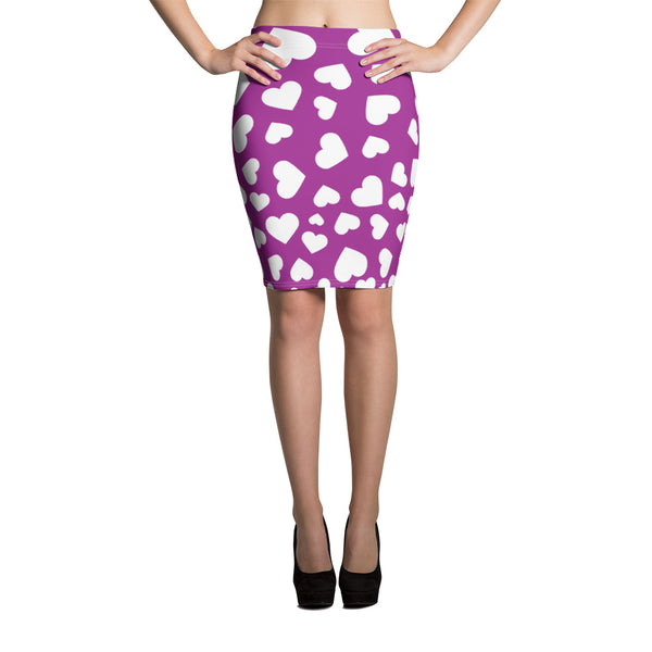 All Over Print Purple Royal Purple Deep Purple Colorful Purple with White Hearts Love Shape Above Knee Pencil