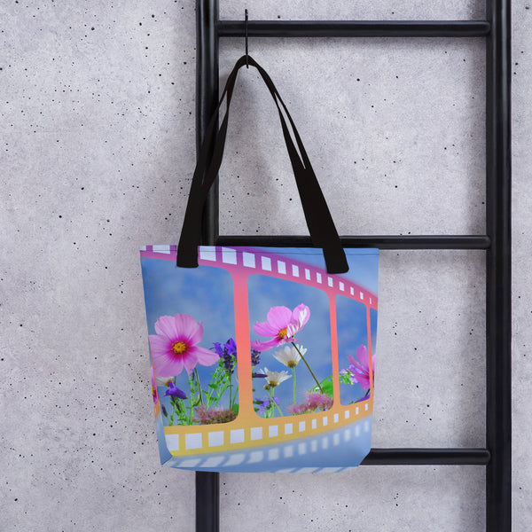 Summer Theme Colorful Multicolor with Pink Flowers, Colorful Beach Bag, Summer Colors Book Bag Gift Tote Bag