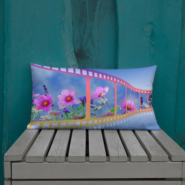 Flower Throw Pillow Outdoor Summer Cushion Cover polyester Linen Waist Pillow Case Standard Decorative Pillows