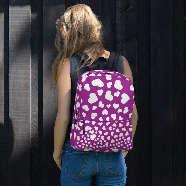 Purple backpack with white hearts, Purple and White Heart Backpack, Purple laptop bag, Purple bag with white hearts and shoulder straps