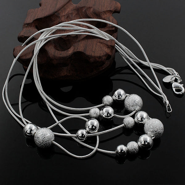 New charm silver color high-quality Three chain necklace