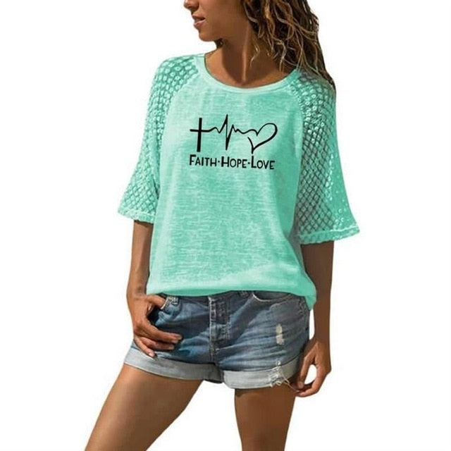 New Faith Hope Love Letters Print T-Shirt -  Lace Crew Neck