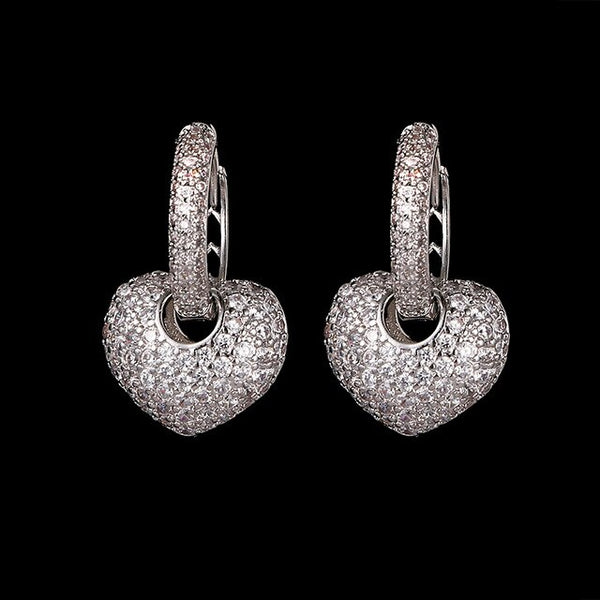 Heart Hoop Earrings with Cubic Earnings