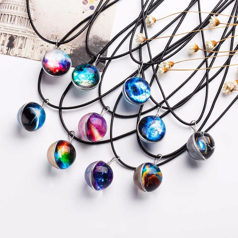 Galaxy Necklace Stars Glass Ball Pendant Crystal