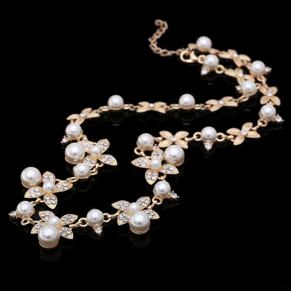Sweet Long Imitate Pearl Choker Necklace Bridal Jewelry