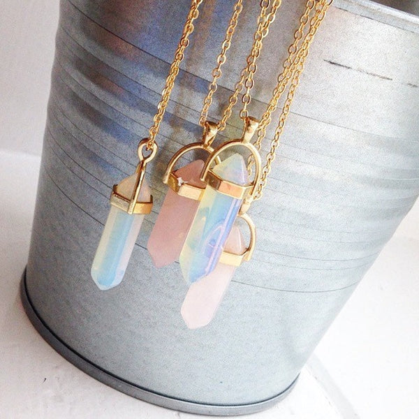 Hexagonal Column Quartz Pendants Necklaces