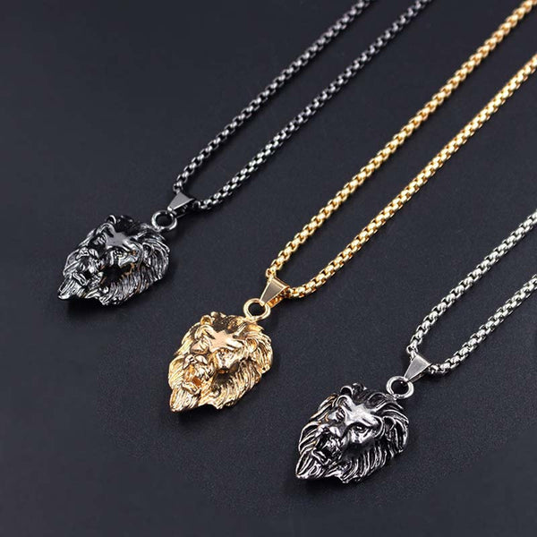 Animal Stainless Steel Lion Head Gold Sliver Black Color Chain