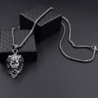 Animal Stainless Steel Lion Head Gold , Sliver , Black Chain