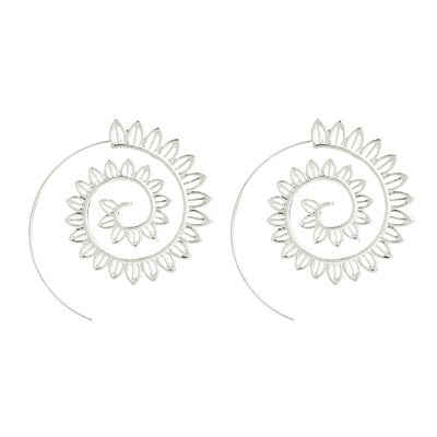 Trendy Gold Silver Round Spiral Earrings