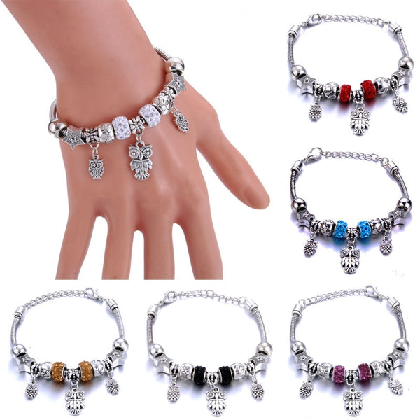 Antique Heart-Shaped Owl Charm Bracelets